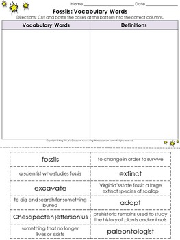 Fossils: Vocabulary Words Cut and Paste Activity - Environments - King Virtue