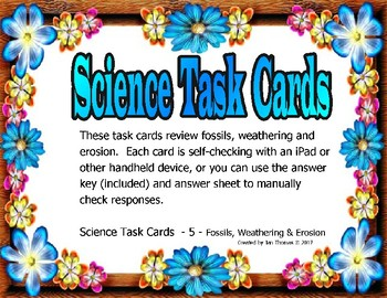 Fossils, Weathering & Erosion Task Cards -- Science