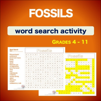 Fossils * WordSearch * Vocabulary*