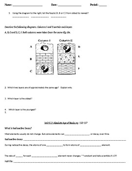 Fossils and Dating of Rocks Guided Notes