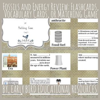 Fossils and Energy: Vocabulary Cards or Matching Game