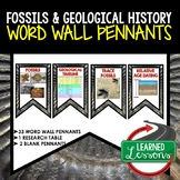 Fossils and Geological History Word Wall Pennants (Earth S
