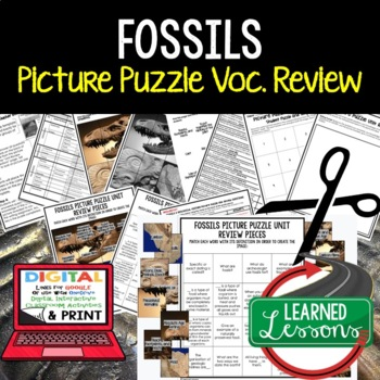 Fossils and Geological Timelines  Picture Puzzle Study Guide Test Prep