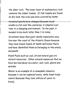 Fossils and Living Things of the Past NOTES and Test Prep 3rd Grade