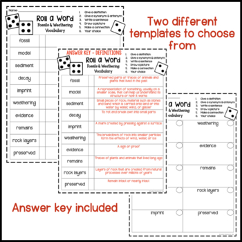 Fossils and Weathering Fun Interactive Vocabulary Dice Activity EDITABLE