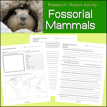Fossorial Mammals | Ground Dwelling |  Science Research and Report Activity