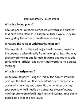 Found Poem Assignment using Poets' Quotes about Poetry