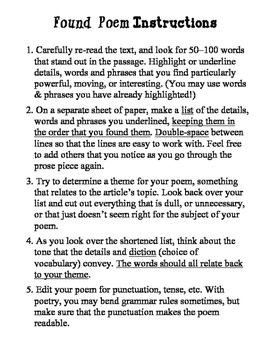 Found Poem Instructions & Poetry Page