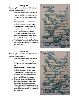Found Poetry from Book Pages- Instructions