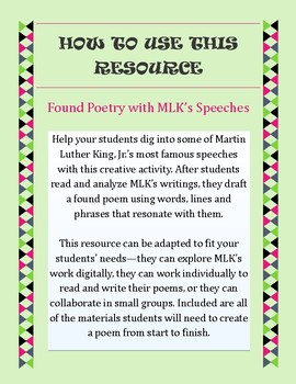 Found Poetry with MLK's Speeches || Martin Luther King Day Activity