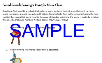 Scavenger Hunt for Elementary Music - Outdoor Found Sounds - elementary music