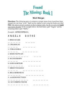 """Found—The Missing: Book 1; 10 Word Merges—1""""Word"""" Becomes 2!"""