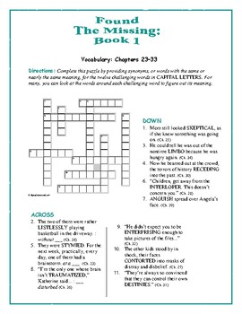Found—The Missing: Book 1; 3 Vocab Crosswords + 1 Comprehensive