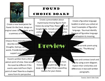 Found The Missing Book 1 Choice Board Novel Study Activities Menu Project Rubric