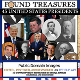 Found Treasures: 45 Presidents Clip-Art Bundle-100 Pcs! Restored Public Domain