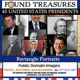 Found Treasures: 45 Presidents Clip-Art Rectangles 50 Pcs!