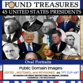 Found Treasures: 45 Presidents Oval Portraits Clip-Art -50 Pcs!