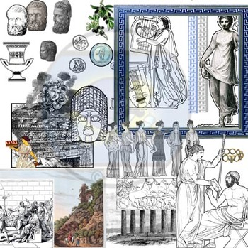 Found Treasures: Ancient Greece & Rome Clip Art-50 Pc! Restored Public Domain.
