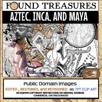 Found Treasures: Aztec Inca Maya Clip-Art-50 Pieces! Restored Public Domain Pics