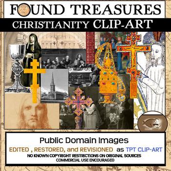 "Found Treasures ""Christianity""  50 Pc. Clip-Art Set-Restored Public Domain!"