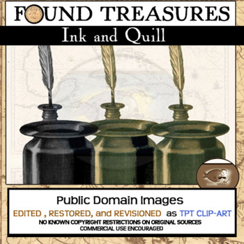 """Found Treasures """"Ink Well With Writing Quill"""" Vintage Clip-Art"""