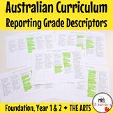 Foundation|1|2 Australian Curriculum Reporting Grade Descriptors - The Arts