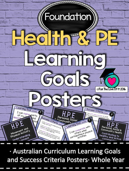 Foundation All HEALTH & PE  Learning Goals/success criteria posters. AC