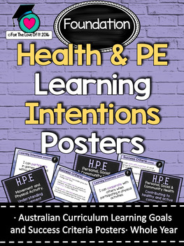Foundation All HEALTH & PE  Learning INTENTIONS/success criteria posters. AC
