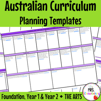 Foundation, Year 1, Year 2 Australian Curriculum Planning Templates - The Arts