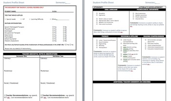 Foundation Australian Curriculum Student Profile Sheet
