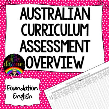 Foundation English Australian Curriculum Assessment Overview