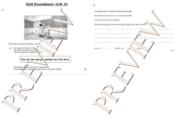 Foundation GCSE (Grade 9-10) Numeracy Maths weekly H.ws - (A4 Double-sided)