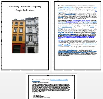 Resourcing Foundation/ Prep/ Kindergarten Geography - People live in places