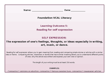 VCAL Foundation Literacy Learning Outcome 5