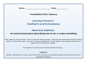 VCAL Foundation Literacy Learning Outcome 6