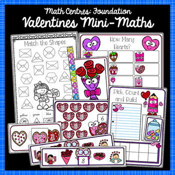Foundation Math and Literacy Centres: Valentines-Themed BUNDLE