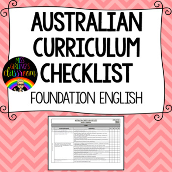 Foundation English - Australian Curriculum Checklist