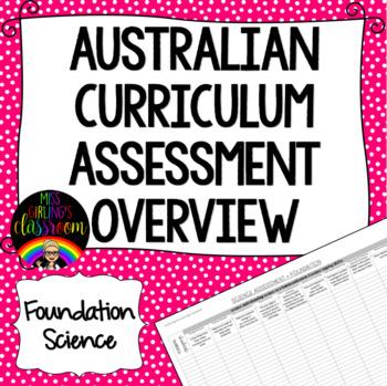 Foundation Science Australian Curriculum Assessment Overview