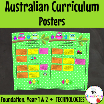 Foundation, Year 1, Year 2 Australian Curriculum Posters – Technologies