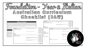 Foundation - Year 2 Italian (Black & White) | Australian Curriculum Checklist