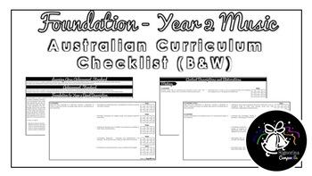 Foundation - Year 2 Music (Black & White)   Australian Curriculum Checklist