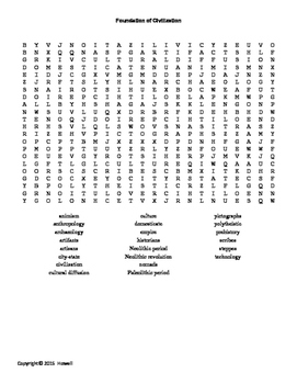 Foundation of Civilization Word Search for World History