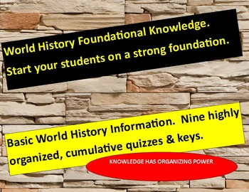World History Basics:   Nine cumulative quizzes with answer keys