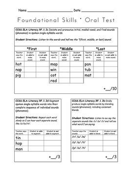 Foundational Skills Assessment - First Grade