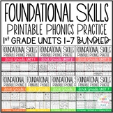 Foundational Skills: Printable Phonics Practice {First Grade Units 1-7 BUNDLED}