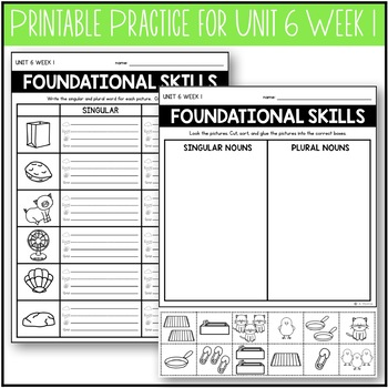 Foundational Skills: Printable Fundations Support {Practice for Level 1 Unit 6}