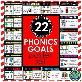 """Phonics & Reading Goals with """"I can"""" statements - 47 Poster BUNDLE"""