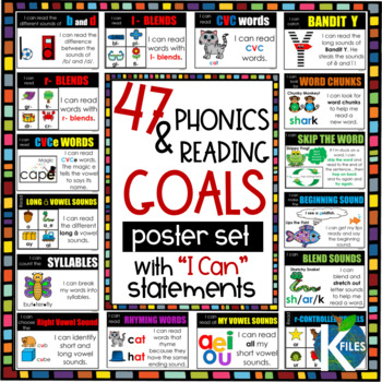 "Phonics & Reading Goals w/ ""I can"" statements - 47 Poster BUNDLE"