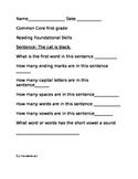 Foundational Skills quick check first grade