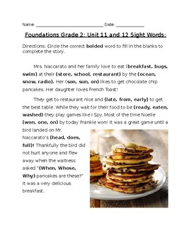 Foundations Grade 2 Unit 11 and 12: Sight Words Fill in the Blank